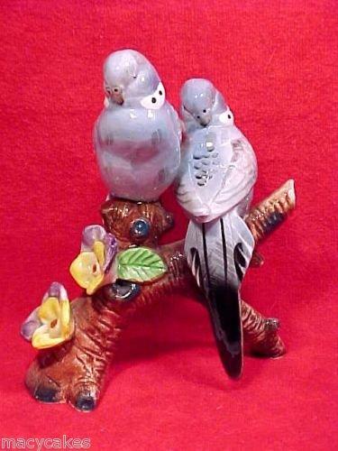 antique vintage majolica parakeets lovebirds figurine, gm363