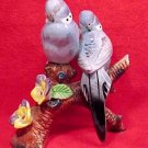 antique vintage majolica parakeets lovebirds figurine, gm363