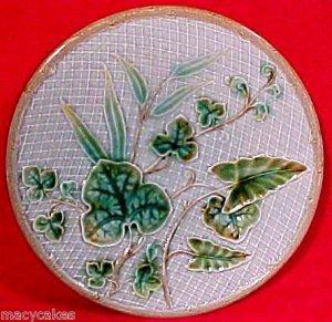 Antique German Majolica Plate c.1800's Leaves & Weave, gm631