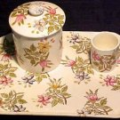 ANTIQUE FRENCH LUNEVILLE FLORAL DRESSER TRAY SET, di05