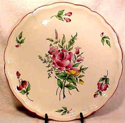 ANTIQUE LUNEVILLE MAJOLICA FAIENCE ROSE PLATTER, lun44