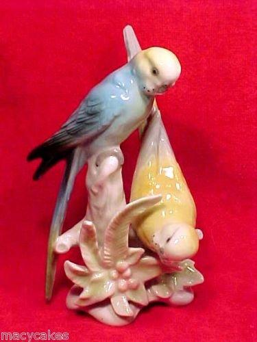 antique vintage porcelain parakeets lovebirds figurine, gm361