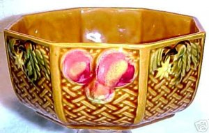 ANTIQUE GERMAN ZELL MAJOLICA POTTERY 8 SIDE BOWL c.1907, gm246
