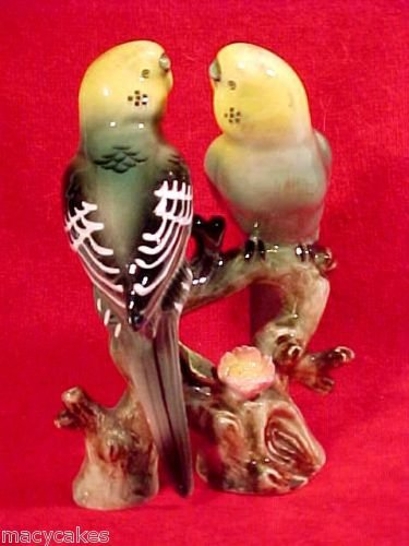 antique majolica pottery parakeets lovebirds figurine, gm359