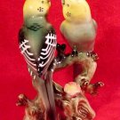 antique majolica pottery parakeets lovebirds figurine, gm359