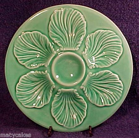 BEAUTIFUL VINTAGE MAJOLICA POTTERY CELEDON OYSTER PLATE FRANCE c.1950's, op113