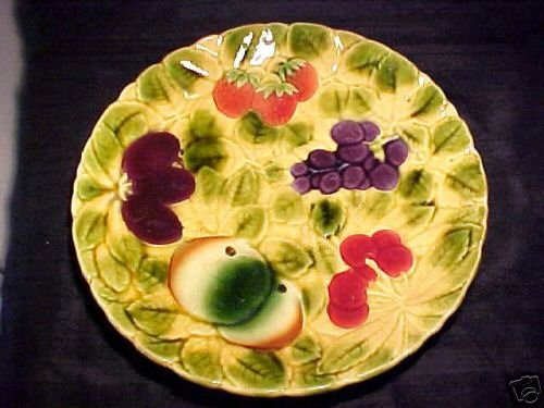 ANTIQUE SARREGUEMINES MAJOLICA POTTERY FRUIT PLATTER C.1881, fm134