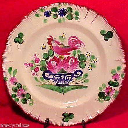 ANTIQUE FRENCH ST.CLEMENT LUNEVILLE FAIENCE POTTERY PLATE c1800, ff177