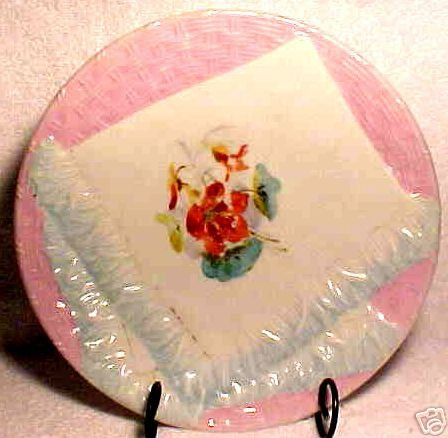 ANTIQUE GERMAN NAPKIN PLATE c.1800's PINK AND BLUE, p11