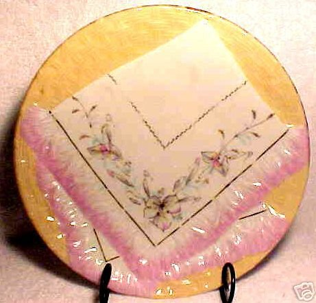 ANTIQUE GERMAN NAPKIN PLATE c.1800's SALMON, PINK, p10