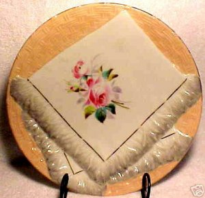 ANTIQUE GERMAN NAPKIN PLATE c.1800&#039;s SALMON, GREY, p9
