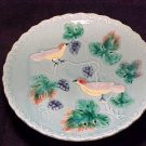 GERMAN MAJOLICA POTTERY COMPOTE BIRDS GRAPES, gm196