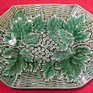 Antique FRENCH GIEN MAJOLICA POTTERY PLATTER LEAVES, fm376