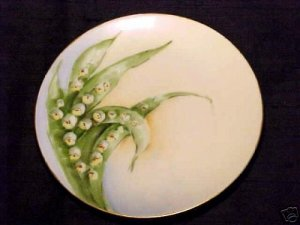 BEAUTIFUL HANDPAINTED GERMAN Lily of the Valley PLATE SIGNED, hp14