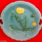 ANTIQUE GERMAN ZELL MAJOLICA POTTERY DANDILION PLATTER, gm504