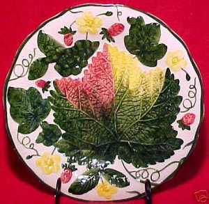 VINTAGE GERMAN MAJOLICA pottery PLATE c.1950's, gm490