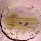 ANTIQUE FRENCH PORCELAIN POTTERY HP GAME BIRDS PLATE c.1800's, L41