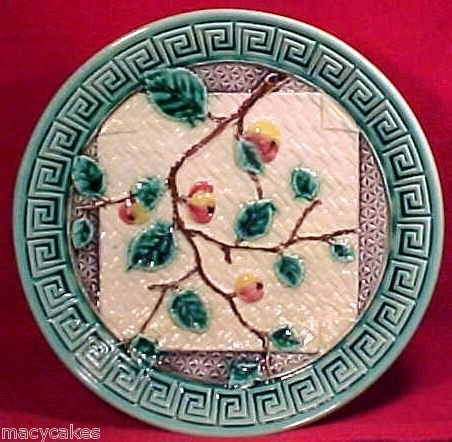 Antique German Majolica Pottery Napkin & Greek Key Compote, gm594