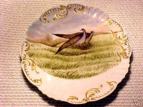 ANTIQUE FRENCH HP GAME BIRDS Porcelain POTTERY PLATE c.1800's, L40