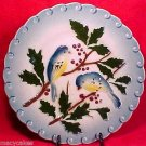 ANTIQUE MAJOLICA POTTERY PLATE WITH BIRDS BERRIES FRANCE c.1897, fm406