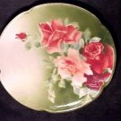 ANTIQUE FRENCH LUNEVILLE MAJOLICA POTTERY ROSES  PLATE, fm42