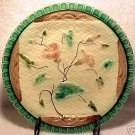 ANTIQUE MAJOLICA Pottery PLATE NAPKIN AND  PINK FLOWERS, gm210