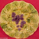 Antique Majolica Pottery Grapes Plate Sarreguemines c.1889, gm581