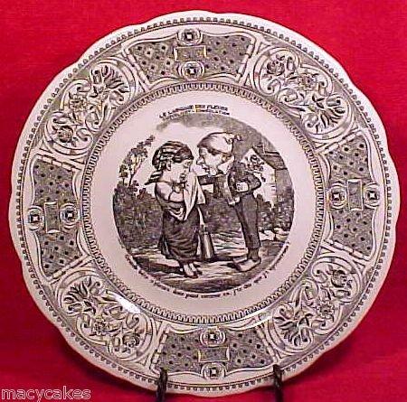 FM533, VINTAGE GIEN MAJOLICA FAIENCE Pottery VIGNETTES PLATE