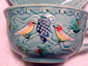 VINTAGE GERMAN MAJOLICA POTTERY CUP SAUCER ZELL BIRDS, gm312