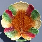 antique majolica pottery leaf plate c.1912, gm650