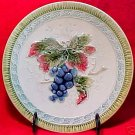 ANTIQUE GERMAN MAJOLICA POTTERY GRAPES AND LEAVES PLATE, gm536