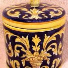 Antique Desvres n. Quimper Faience Majolica Pottery Lidded Jar, fm612