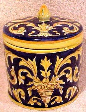 Antique Desvres n. Quimper Faience Majolica Pottery Lidded Jar, fm612
