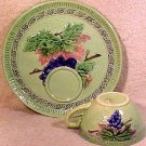Vintage German Majolica Pottery Grapes and Leaves Snack Set, Zell, gm684