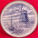 Antique Boch Freres Faience Pottery Delft Plate Windmill Ship, fm619