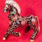 Beautiful Vintage Brass and Enamel Cloisonne Horse, c2