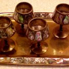 Antique Art Deco Abalone Brass Cordial Set of 4 w/ Tray, m2