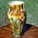 French Majolica Pottery Iris Flowers Vase, fm665