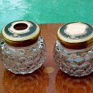 Antique Large Crystal & Bone Hair Receiver & Powder Jar, gl37