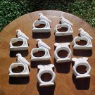 Vintage French Porcelain Set of 8+1 Napkin Rings Birds, p59