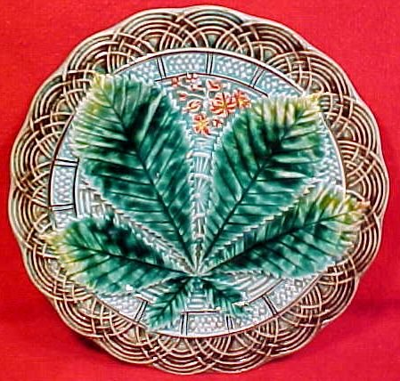 Antique Art Nouveau Majolica Chestnut Plate 1800's gm697