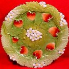 Early Antique Porcelain Strawberry Plate not Majolica, p63
