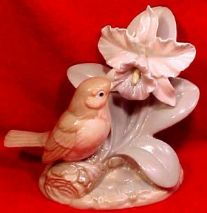 Antique Vintage porcelain Hand Painted Bird w/ Iris Flower Figurine, p119