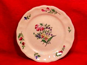 Antique Vintage Luneville Faience Tulip Bread & Butter Plate c.1920, LUN65