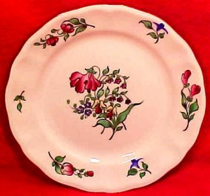 Antique Vintage Luneville Faience Tulip Bread & Butter Plate c.1920, LUN69