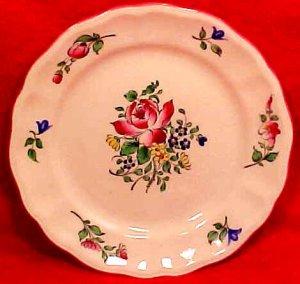 Antique Vintage Luneville Faience Rose Bread & Butter Plate c.1920, LUN72