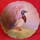 Antique Limoges Known Artist Decorated Wall Charger Plate Duck c.1880's-1914, L149