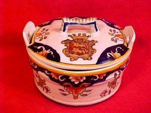 Antique Desvres n. Quimper Handled Lidded Butter Dish Butter Tub c.1900, fm783