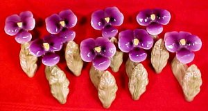 Vintage Set of 8 Hand Painted Porcelain Pansy Flower Napkin Rings Holders, p129.