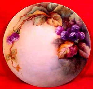 Antique Hand Painted Blackberries &amp; Leaves Fine Porcelain Plate c.1850-1891, p131
